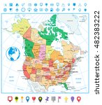 usa and canada large detailed...   Shutterstock .eps vector #482383222