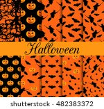 ten halloween seamless patterns.... | Shutterstock .eps vector #482383372