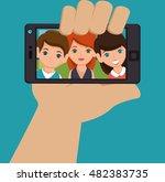 character selfie smartphone... | Shutterstock .eps vector #482383735