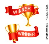 golden trophy cups and ribbons... | Shutterstock .eps vector #482384536
