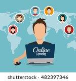 cartoon learn online e book... | Shutterstock .eps vector #482397346
