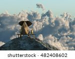 Stock photo elephant and dog sit on a mountain top d illustration 482408602
