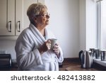 senior woman looking out of her ... | Shutterstock . vector #482413882