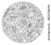 line art vector hand drawn set... | Shutterstock .eps vector #482428696