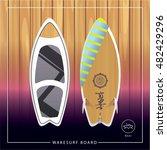 wakesurf board. summer extreme... | Shutterstock .eps vector #482429296