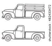 Retro Pickup Truck. Vector...