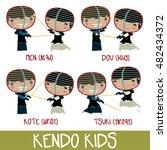 kendo kids set. cute asian...   Shutterstock .eps vector #482434372