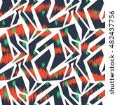 ikat seamless pattern design... | Shutterstock . vector #482437756