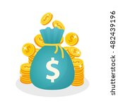 stacks of coins and money bag...   Shutterstock .eps vector #482439196