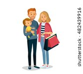 young couple with child shopping | Shutterstock .eps vector #482439916