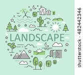 landscape nature line art thin... | Shutterstock .eps vector #482442346