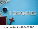 Small photo of Blue background with the Bible book of 2 Chronicles