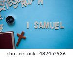 Small photo of Blue background with the Bible book of 1 Samuel