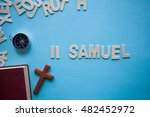 Small photo of Blue background with the Bible book of 2 Samuel