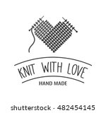 hand knit label  badge or logo. ... | Shutterstock .eps vector #482454145