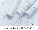 architectural drawing paper... | Shutterstock . vector #482464915