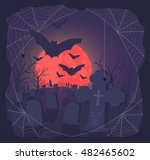 scary grave and red moon  | Shutterstock .eps vector #482465602