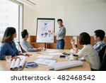 businessman presenting his idea ... | Shutterstock . vector #482468542