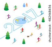 new year 2017 concept   skier... | Shutterstock .eps vector #482468656