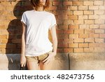 young girl in a white blank t... | Shutterstock . vector #482473756