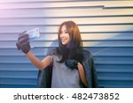 a young well dressed asian girl ... | Shutterstock . vector #482473852