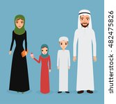 arab family in national clothes ... | Shutterstock .eps vector #482475826