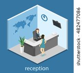 isometric interior of reception.... | Shutterstock .eps vector #482477086