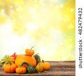Orange Raw Pumpkins With Fall...