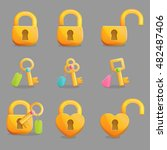 collection of golden padlocks... | Shutterstock .eps vector #482487406