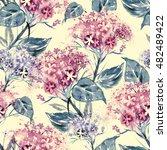 Watercolor Hortensia Seamless...