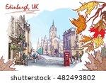 royal mile street panorama.... | Shutterstock .eps vector #482493802