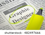 Stock photo graphic designer vacancy in newspaper circled with a yellow highlighter blurred image 482497666