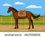 horse ranch cartoon vector... | Shutterstock .eps vector #482504896