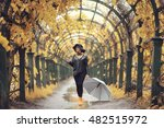 Autumn Landscape City Woman...