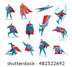 superhero actions icon set in... | Shutterstock .eps vector #482522692