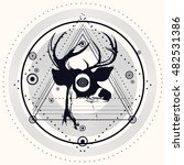 blackwork deer and triangular... | Shutterstock .eps vector #482531386