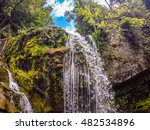 Waterfalls In The Mountains On...