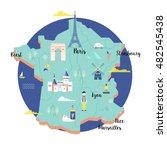 vector map of france in retro... | Shutterstock .eps vector #482545438