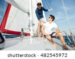 two young handsome happy men... | Shutterstock . vector #482545972