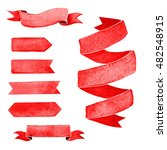 set of red watercolor ribbons... | Shutterstock . vector #482548915