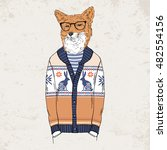 fox dressed up in jacquard... | Shutterstock .eps vector #482554156