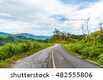 empty curved asphalt road on... | Shutterstock . vector #482555806