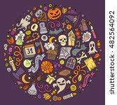 colorful vector hand drawn set... | Shutterstock .eps vector #482564092