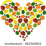 painting fruit heart  yellow...   Shutterstock .eps vector #482569822
