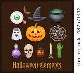 nice happy halloween elements... | Shutterstock .eps vector #482571412