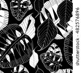 exotic leaves seamless pattern  ...   Shutterstock . vector #482576896