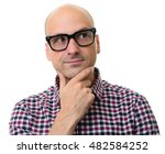 bald man in glasses thinking... | Shutterstock . vector #482584252