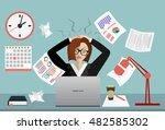 stress at work concept flat... | Shutterstock .eps vector #482585302