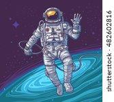 vector illustration cosmonaut | Shutterstock .eps vector #482602816