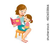 mother reading a book for baby | Shutterstock .eps vector #482603866